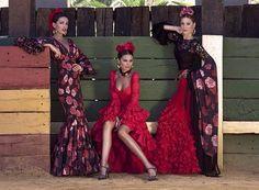 María José Suárez, Elisabeth Reyes y Noelia López enamoradas de la colección de flamenca de Pilar Vera