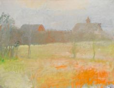 """Two Barns at Dawn,"" Wolf Kahn, 1973, oil on canvas, 36 3/8 x 48 1/4"", private collection."