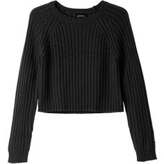 Monki Bo knitted top (€25) ❤ liked on Polyvore featuring tops, sweaters, shirts, jumpers, black magic, black crop shirt, monki, black sweater, crop top and black crop top