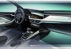 The new ŠKODA SCALA has let us take a look at its interior, featuring a large infotainment display protruding from the dashboard, new materials, and the largest luggage compart for a car in the C-segment. Car Interior Sketch, Interior Concept, Large Luggage, Car Ins, Displays, Car Seats, Golf, Sketches, Google Search
