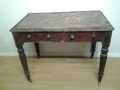 Victorian-rustic-pine-two-drawer-writing-table-desk