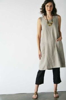 Product image: Gathered Back Dress Neutral in Flax Neutral 2015 [FLAX Clothing NEW ]