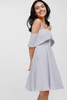 79781641041f Syarah Layered Off-the-Shoulder Dress by Love, Bonito Grey Bridesmaid  Dresses Short