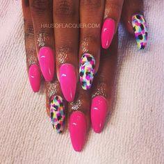 Pink Nail Art Stiletto nails