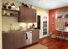 This is the project I created on Behr.com. I used these colors: INFERNO(P190-7),SWEET AS HONEY(P290-2),OCTOBER LEAVES(S210-7),