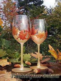 Autumn set of 2 Maple Leaves toasting glasses in gold and copper color