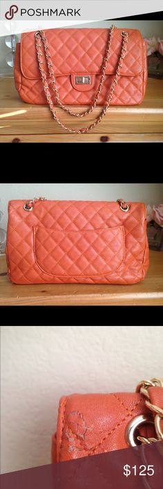 Quilted Orange Purse Quilted Orange Purse Bags Shoulder Bags