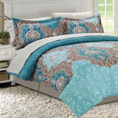 Found it at Wayfair - Double Damask Teal 8 Piece Bed in a Bag