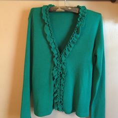 Spotted while shopping on Poshmark: Green ruffle sweater! #poshmark #fashion #shopping #style #Jones New York #Sweaters