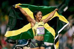 Shelly-Ann Fraser-Pryce of jamaica celebrates winning gold in the women's 100m final with a time of 10.75 seconds.    #london2012, #olympics, #goldengirl