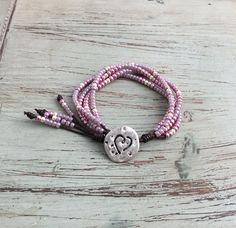 Bead and leather wrap Bracelet/ Seed Bead Leather Wrap/Boho
