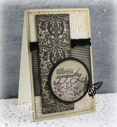New Mercies (Verve Stamps) Paper: Lost & Found - Antique (MME), basic black (SU!), cream (Neenah) Ink:perfect plum (SU!), black archival, black soot and vintage photo distress (Ranger), white gel pen Accessories:Mini Exotic Butterflies Dies, Classic Circles Nestabilities (Spellbinders), black rhinestones, paisley embossing folder (Anna Griffin for Cuttlebug), black lace trim
