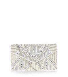 Cream Bridal Geo Pearl Envelope Clutch