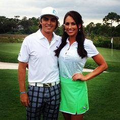 Rickie Fowler and Holly Sonders (Golf Channel Instructor) Golf Attire, Golf Outfit, Holly Sonders, Golf Now, Rickie Fowler, Golf Images, Golf Instructors, Gq Fashion, Ladies Fashion