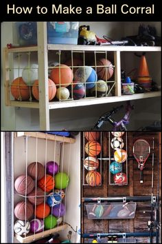 Organize all those sports balls at home by building this easy ball corral! - Organize all those sports balls at home by building this easy ball corral! Garage Organization Tips, Diy Garage Storage, Shed Storage, Outdoor Toy Storage, Sports Organization, Garage Workshop, Garage Shed, Garage Doors, Diy Storage Projects