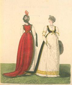 two open robes. Jan 1801 United Kingdom Gallery of Fashions Day Dresses Regency Dress, Regency Era, Historical Costume, Historical Clothing, Historical Dress, Fashion Books, Fashion Days, Women's Fashion, 18th Century Fashion