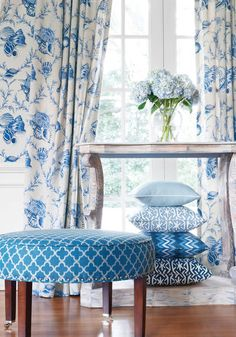 Keep up with current design trends with June DeLugas Interiors. In our current blog, we talk about jazzing up window treatments with trim and the ever popular color, blue! #interiordesign #windowtreatments #design #decorating #homedesigntrends