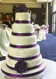 5 Tier with Purple Ribbon and Sugar Craft Flowers - Celebrity Style Weddings