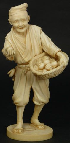 "FINE JAPANESE IVORY FRUIT MERCHANT FIGURE SIGNED Japanese hand carved ivory fruit merchant figure. Depicts a man holding a basket of peaches and offering one with his right hand. Fine attention to detail. Signed to bottom. 19th century. Measures 7 1/4"" height x 3 3/4"" width (18.4cm x 9.5cm)."