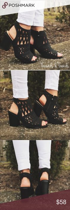 Peep Toe Sandal Booties Black cut out, sling back, peep toe sandal bootie. Trending chunky heel. Side zipper closure. Great staple to any wardrobe. Shoes Heels
