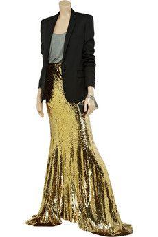 Sequined silk maxi skirt by Balmain #metallic