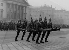 Max goose step by Luftwaffe honor guard. Extremely difficult to learn and practice. This manner is today prevalent in Russia and China and a few other countries influenced by the German military tradition.