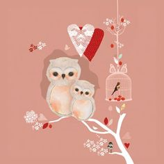 """Love Nest"" Wall Decor for Girls by Schmooks for Oopsy Daisy, Fine Art for Kids sizes 14x14 $69 and 21x21 $119"
