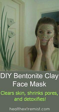DIY Bentonite Face Mask- Clears skin, shrinks pores, and detoxifies! #bentoniteclay #detox #facemask