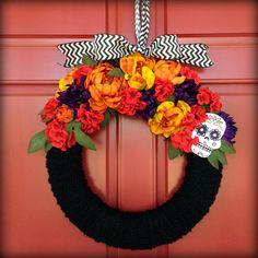 Fall, Halloween, Day of the dead, Dia de los muertos, DIY wreath. by K English