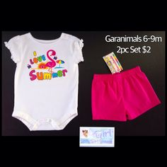 Garanimals 6-9m Infant Girls 2pc Short Set NEW $2