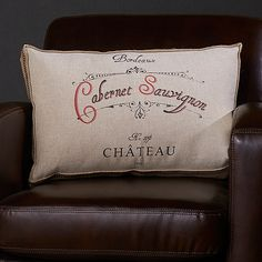 Wine-Themed Accent Pillow (Cabernet Sauvignon) at Wine Enthusiast - $59.95