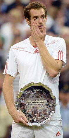 Andy Murray, after his tearful speech as Finalist of Wimbledon Murray Tennis, Davis Cup, Tennis Championships, Andy Murray, Tennis Stars, Sports Stars, Tennis Players, Wimbledon, Amazing Things