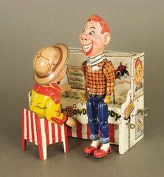 1950s Tin Litho Wind-Up Howdy Doody and Piano....when I was a kid...I didn't like Howdy Doody...or Clara Bell...!