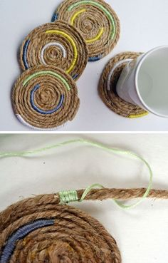 Nautical-Iinspired Twine Coasters | Click Pic for 26 DIY Living Room Decor on a Budget | DIY Living Room Decorating Ideas