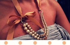 D.I.Y J.Crew Ribbon Pearl Necklace