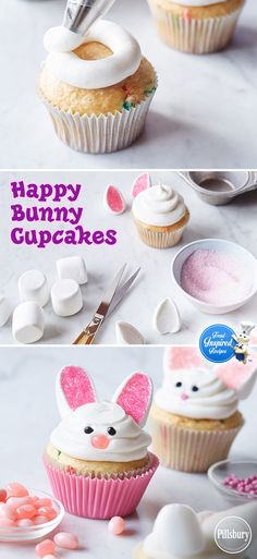 Happy Bunny Cupcakes See how easy it is to make these super cute Easter treats! With marshmallows, jellybeans and pink decorator sugar, you can turn plain white cupcakes into Happy Bunny Cupcakes for a last minute Easter dessert! Holiday Desserts, Holiday Baking, Holiday Treats, White Cupcakes, Easter Cupcakes, Easter Cake, Bunny Birthday Cake, Cupcakes Kids, Spring Cupcakes