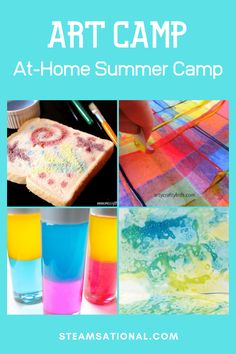 Don't waste money on expensive summer camps, make your own DIY summer camp at home! This fun theme offers a week of DIY art summer camp ideas for kids. Summer Camp Art, Summer Camp Themes, Summer Camp Crafts, Summer Camps For Kids, Camping Crafts, Camping With Kids, Summer Diy, Art Camp, Summer Activities For Kids