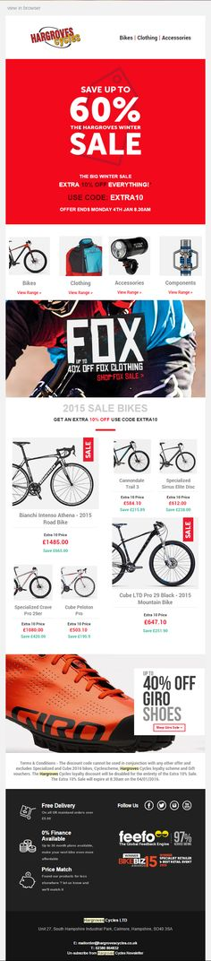 Hargroves Cycles Sales email with discount code and product recommendations #EmailMarketin #Sport #Hobbies #Recommendations