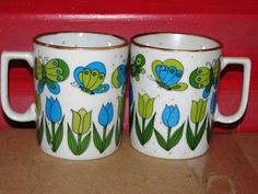 Peter Max style 1960's vintage Coffee Mugs Mod by TheIDconnection, $12.00    Peter Max style 1960's vintage Coffee Mugs Mod design Pop Art  http://TheIDconnection.etsy.com retro 60's kitchenware  http://etsy.me/yfWid9 via @Etsy