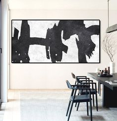 Hand painted Minimalist painting on canvas, Large horizontal black and white art for minimal interiors. CZ ART DESIGN @CeilneZiangArt