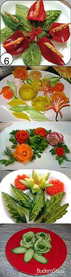 Beautiful registration of vegetable dishes. Veggie Art, Fruit And Vegetable Carving, Vegetable Dishes, Veggie Food, Food Garnishes, Garnishing, Food Carving, Edible Arrangements, Food Displays