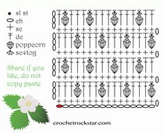 Beautiful and quite easy crocheted flower edging motif with step by step tutorial. The strawberry crochet stitch is easy to do by beginners with this free photo tutorial. DESIGNED by Iin Wibisono PROJ Crochet Mandala Pattern, Crochet Borders, Crochet Diagram, Crochet Stitches Patterns, Crochet Chart, Crochet Bobble, Cute Crochet, Tunisian Crochet, Crochet Poncho