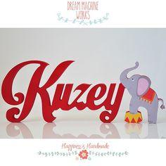 Kuzey kişiye özel ahşap isim çalışması Personalised wooden names circus-themed name with elephant figure