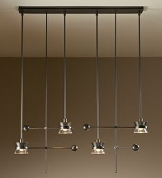 Adjustable pendant with four lights; glass cones and metal shades. D Lighting, Linear Lighting, Unique Lighting, Lighting Design, Pendant Lighting, Decorative Lighting, Ceiling Fixtures, Light Fixtures, Ceiling Lights