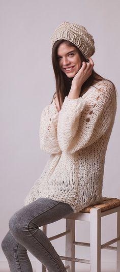 Loose sweater cropped jumper alpaca knitwear gray hand by beWoolen ...