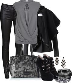"""Black and Grey"" by averbeek on Polyvore"