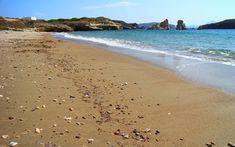 Mavrospilia - sandy beach with sea cave; beach in Kimolos, Cyclades Islands Sea Cave, The Rock, The Locals, Greece, Island, Beach, Water, Oceans, Travel