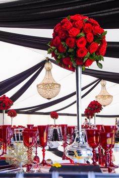A stunning black, white and red wedding we designed