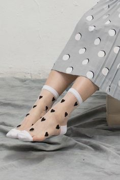 thewhitepepper: Polka Dot Pleat Skirt Dress Grey + Sheer Heart Ankle Socks Black Styling and Photography by THE WHITEPEPPER Like us on FacebookFollow us on Instagram