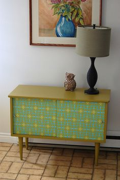sweet mid century record cabinet redo// something like this for entryway?